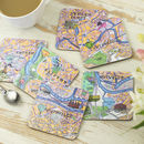 Set Of Six Bristol Map Coasters