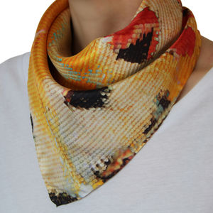 Orange Lace Wing Silk Scarf - women's accessories sale