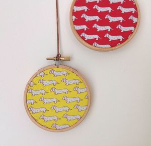 Mini Dog Design Hoop Wall Hanging - home accessories