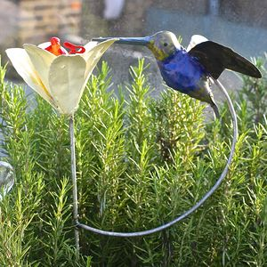 Hummingbird And Lily Garden Sculpture - sculptures & ornaments