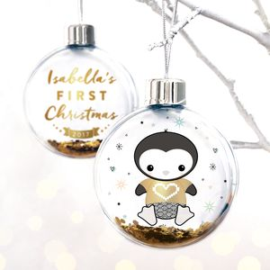 Personalised Baby's First Christmas Penguin Bauble - christmas decorations