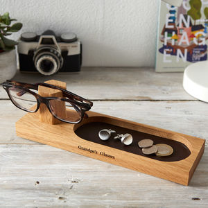 Personalised Glasses Stand With Bits And Bobs Tray