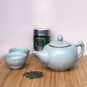 Ru Crackle Glaze Ceramic Teapot Gift Set - kitchen