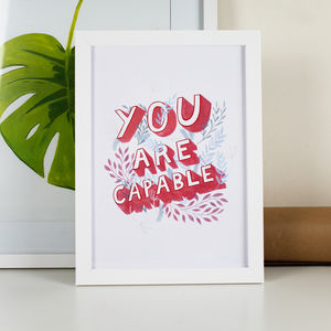 You Are Capable Typographic Office Print