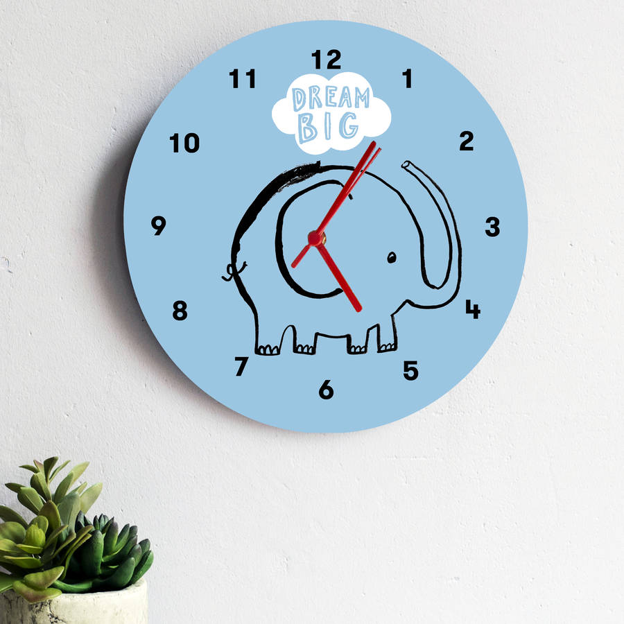 Dream Big Elephant Clock