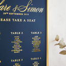 Navy And Gold Wedding Calligraphy Table Plan