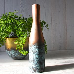 Copper And Verdigris Bottle Vase - home accessories