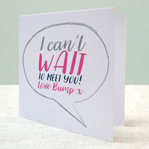 Can't Wait To Meet You Baby Bump Card - mother's day cards