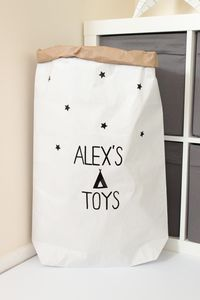 Personalised Teepee Pattern Paper Storage Bag - children's room