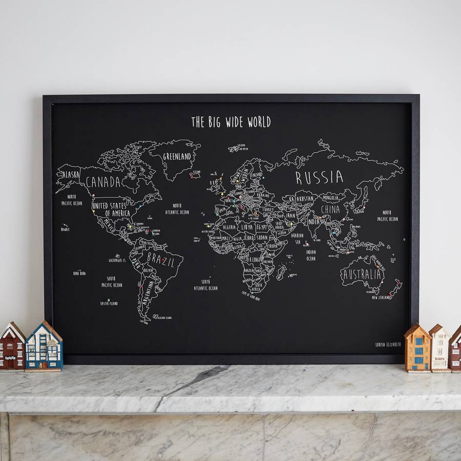 Personalised world travel map with pins by louisa elizabeth personalised world travel map with pins by louisa elizabeth notonthehighstreet gumiabroncs Image collections