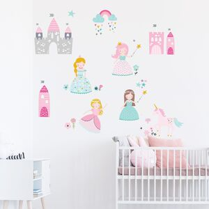 Princess Party Fabric Wall Stickers