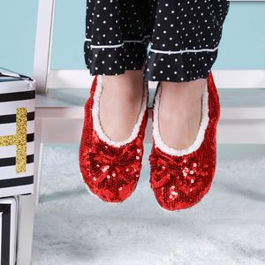 Red Sparkle Sequin Slippers - clothing