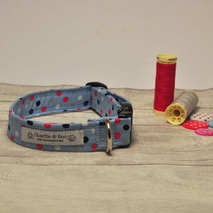 Blue Spotty Dog Collar For Girl Or Boy Dogs - pet collars