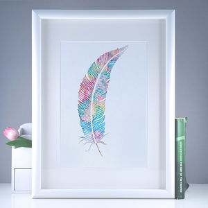 Watercolour Rainbow Feather Giclée Print - posters & prints