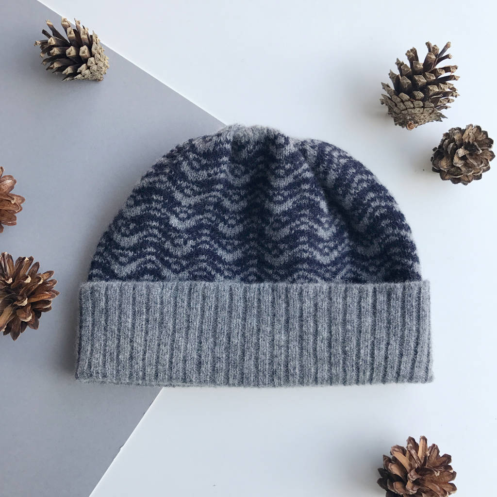 mens grey and navy knitted lambswool beanie hat by little knitted ... 9828026c3d4