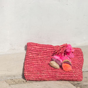 Perfect Pom Pom Handwoven Straw Clutch