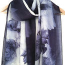 Indigo Blue Floral Print Scarf With Gift Box And Card