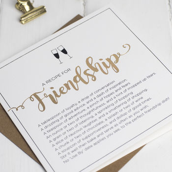 Recipe For Friendship Card