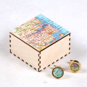 Personalised Map Gold Cufflinks And Map Cufflinks Box