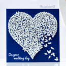 Butterfly Heart Wedding Card, White Wedding Card
