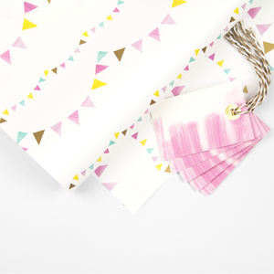 Bunting Gift Wrap And Gift Tag Pack - winter sale