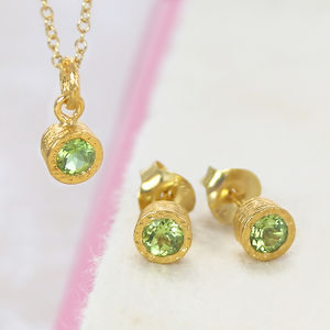 August Peridot Birthstone Gold Jewellery Set - jewellery sets