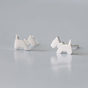 Silver Scottie Dog Earrings Studs - earrings