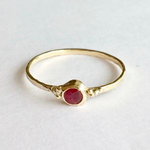 Sun Ring Solid 9ct Yellow Eco Gold With Ruby - engagement rings