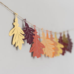 Oak Leaf Papercut Garland - room decorations