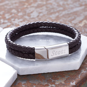 Chestnut Brown Leather Personalised Men's Bracelet