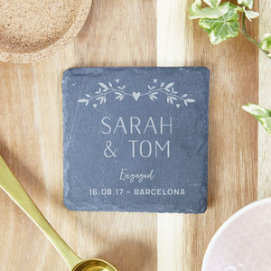 Personalised Slate Coaster Engagement Gift - placemats & coasters
