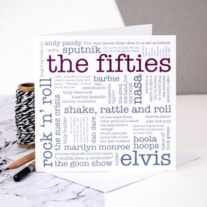 60th Birthday Card 'The Fifties' - birthday cards