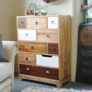 Natural Eclectic Ten Drawer Tall Chest - chests of drawers