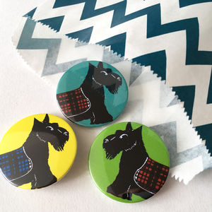 Scottie Dog Set Of Button Badges - pins & brooches