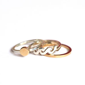 Sea, Sun And Sand Silver And Gold Stacking Rings - new in jewellery