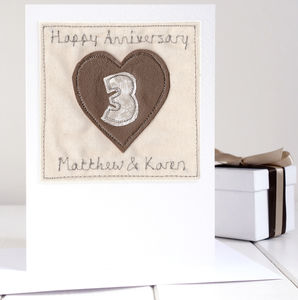 Personalised Leather Wedding Anniversary Card - anniversary cards