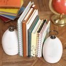 Modern Home Engraved White Marble Book Ends