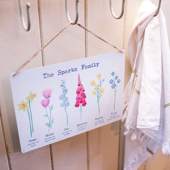 Personalised Family Watercolour Flowers Sign