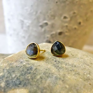 Labradorite Gemstone Stud Earrings - earrings