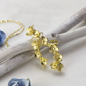 Gold Plated Forget Me Not Cluster Necklace