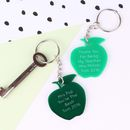 Personalised 'Thank You Teacher' Acrylic Apple Keyring