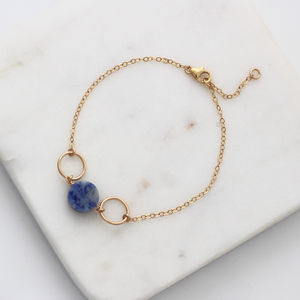 Blue Sodalite Gold Circles Bracelet - new in jewellery