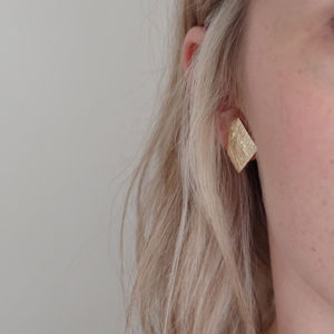 Geometric Odd Shape Metallic Leather Earrings - earrings
