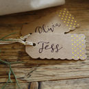 Brown Gift Tags With Gold Foil Polka Dots Pack Of 10