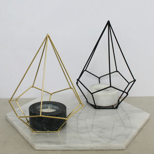 Geometric Wire And Marble Candle Holder