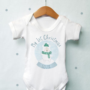 Personalised 1st Christmas Bear Globe Vest