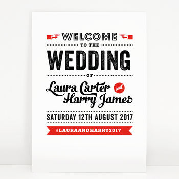 Retro Vintage Wedding Welcome Sign
