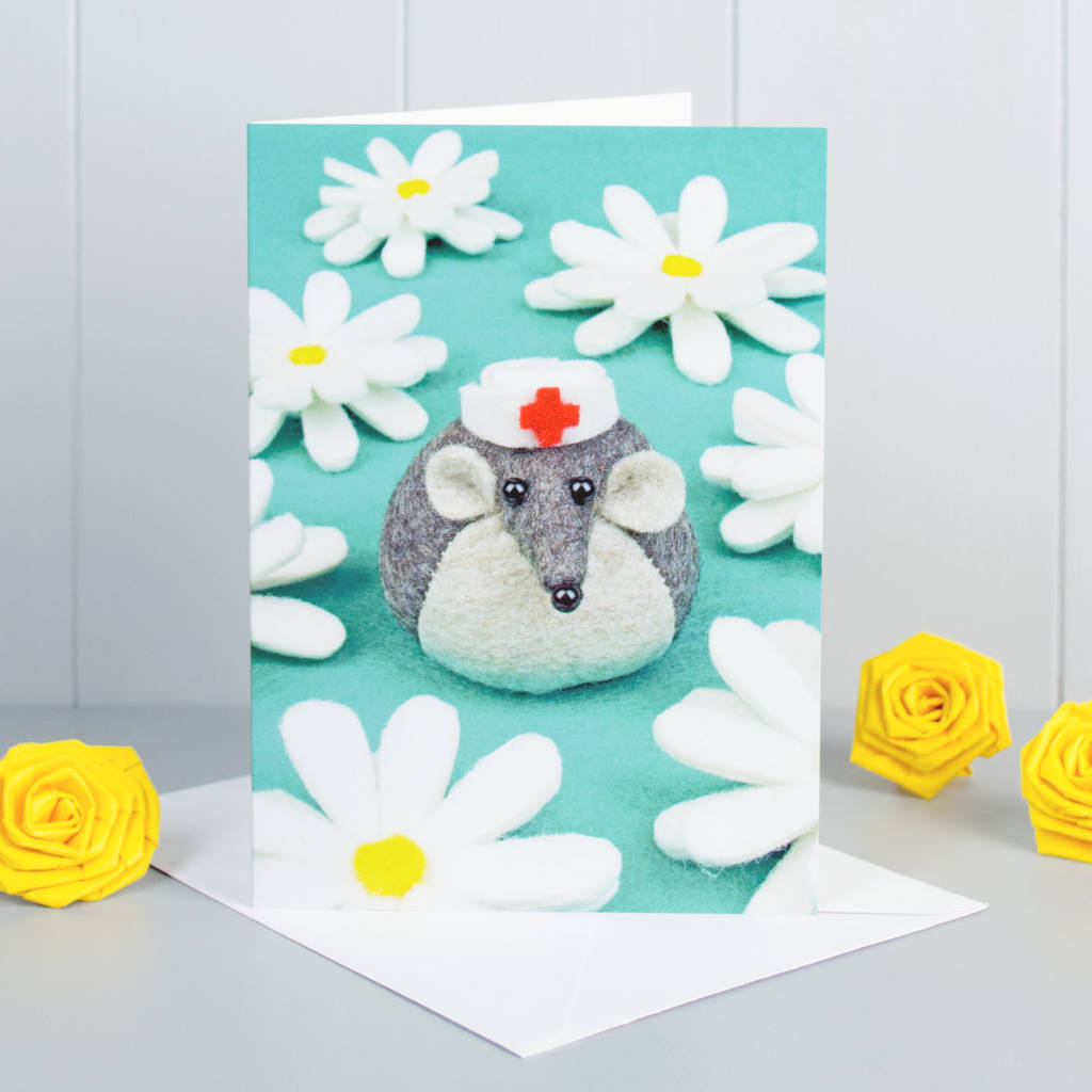 Felt Mouse Get Well Soon Greeting Card By Yellow Rose Design