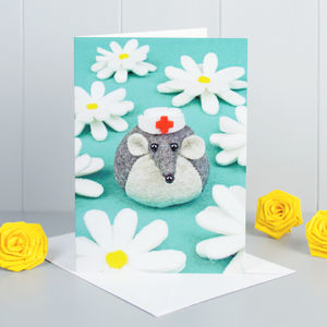 Felt Mouse Get Well Soon Greeting Card - cards sent direct