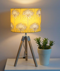 Yellow 'Cotttonbuds' Handmade Drum Lampshade - lighting
